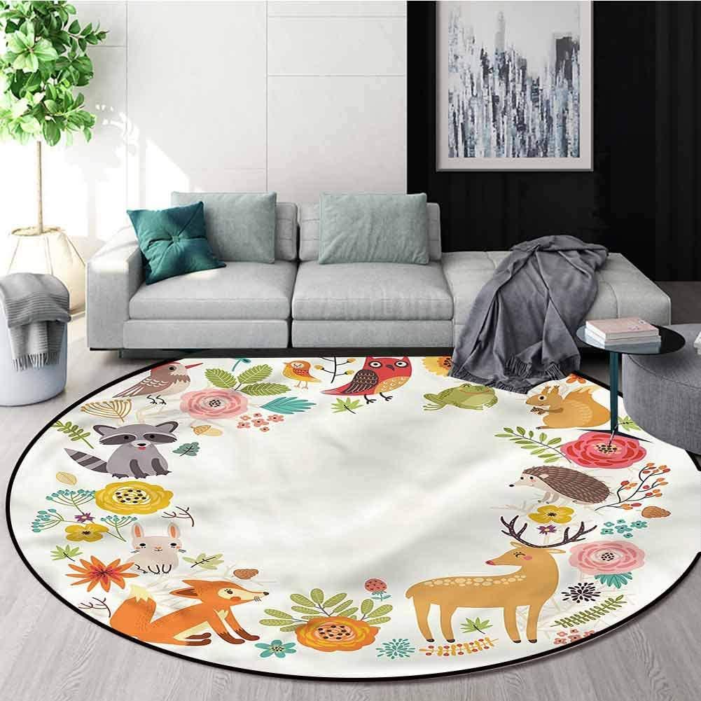 RUGSMAT Forest Anti-Skid Area Rug,Cartoon Wildlife Pattern Living Room Bedroom Study Soft Carpet Diameter-39
