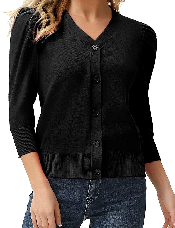 GRACE KARIN Women's 3/4 Puff Sleeve V Neck Knit Button Sweater Cardigans