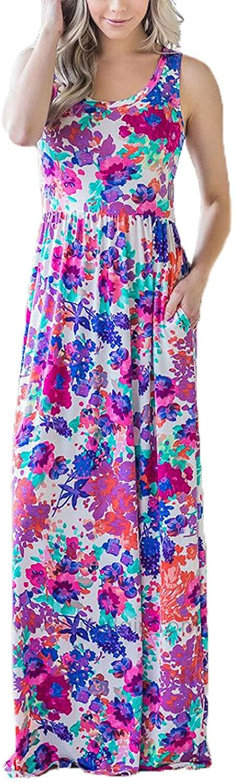 SWQZVT Women's Short Sleeve Plain Maxi Dress Summer Casual Loose Long Dresses with Pockets S-2XL