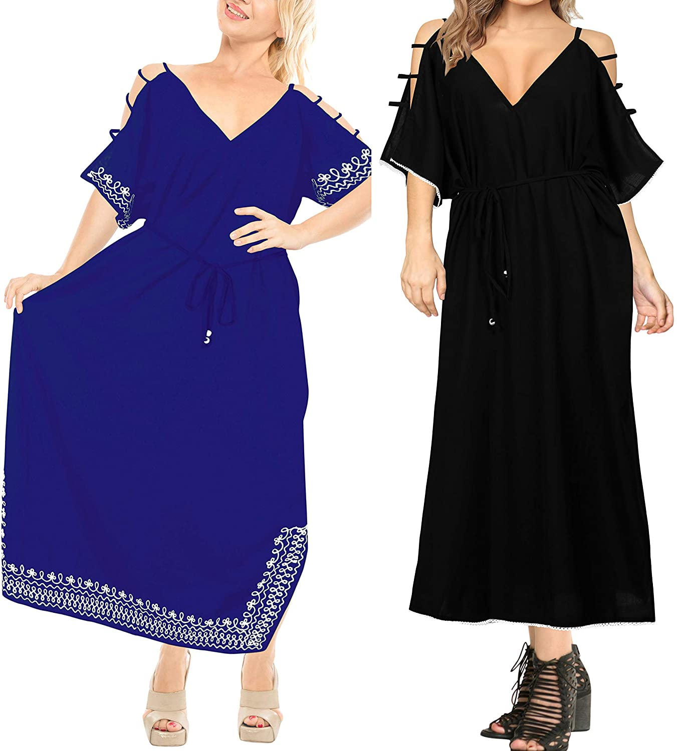 LA LEELA Womens Kaftan Lounge Dress Sleepwear Swim Cover Up US 18-20W Pack of 2