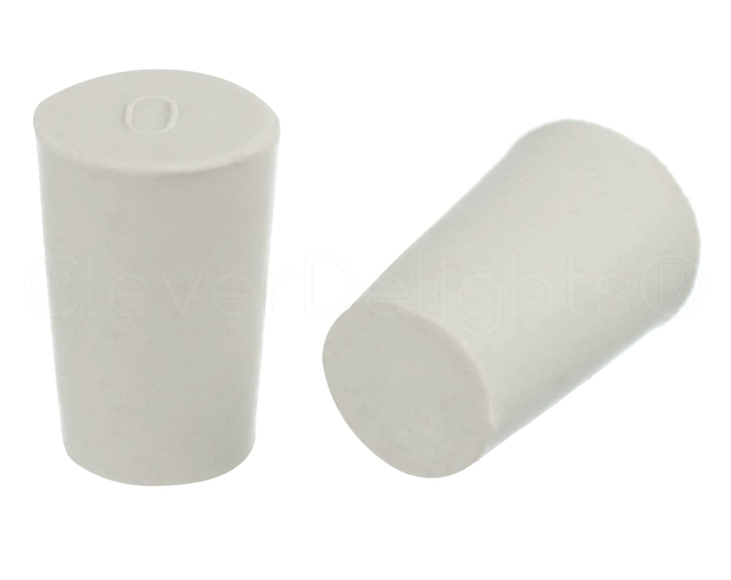 10 Pack - CleverDelights Solid Rubber Stoppers | Size 0 | 17mm x 13mm - 24mm Long - White Lab Plug #0