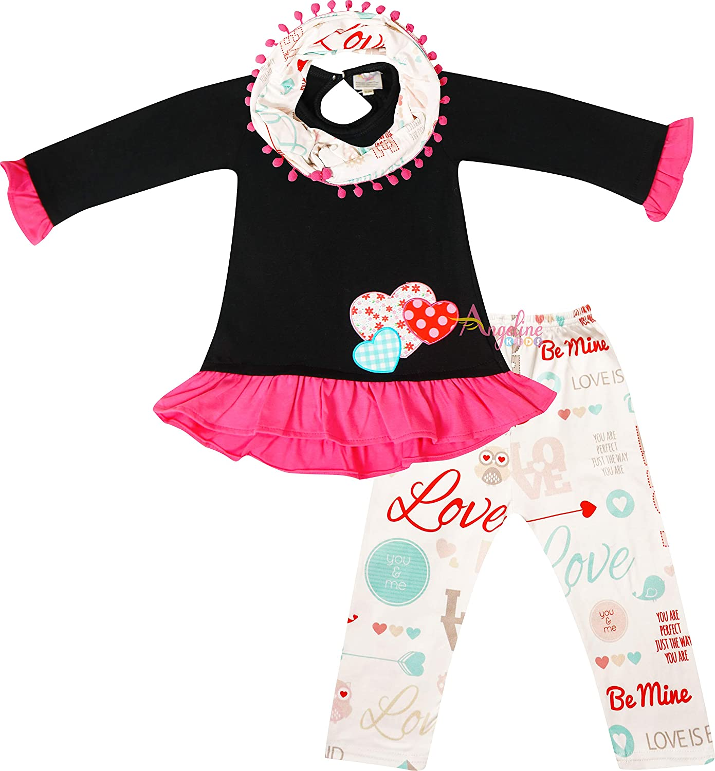 Baby Girls Valentines Day Be Mine Hearts Top Leggings Scarf Outfit Black/Ivory 18-24/XS