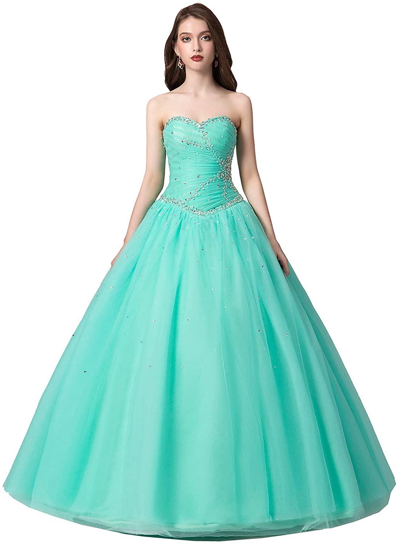 Engerla Womens Sweetheart Beading Bodice A-line Sweep Train Quinceanera Dress