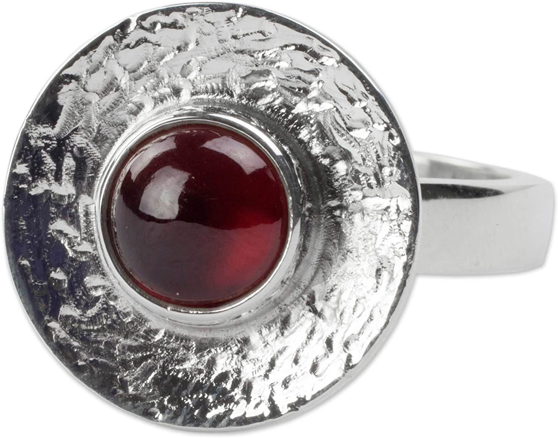 NOVICA Garnet .950 Sterling Silver Cocktail Ring, Center of Light'