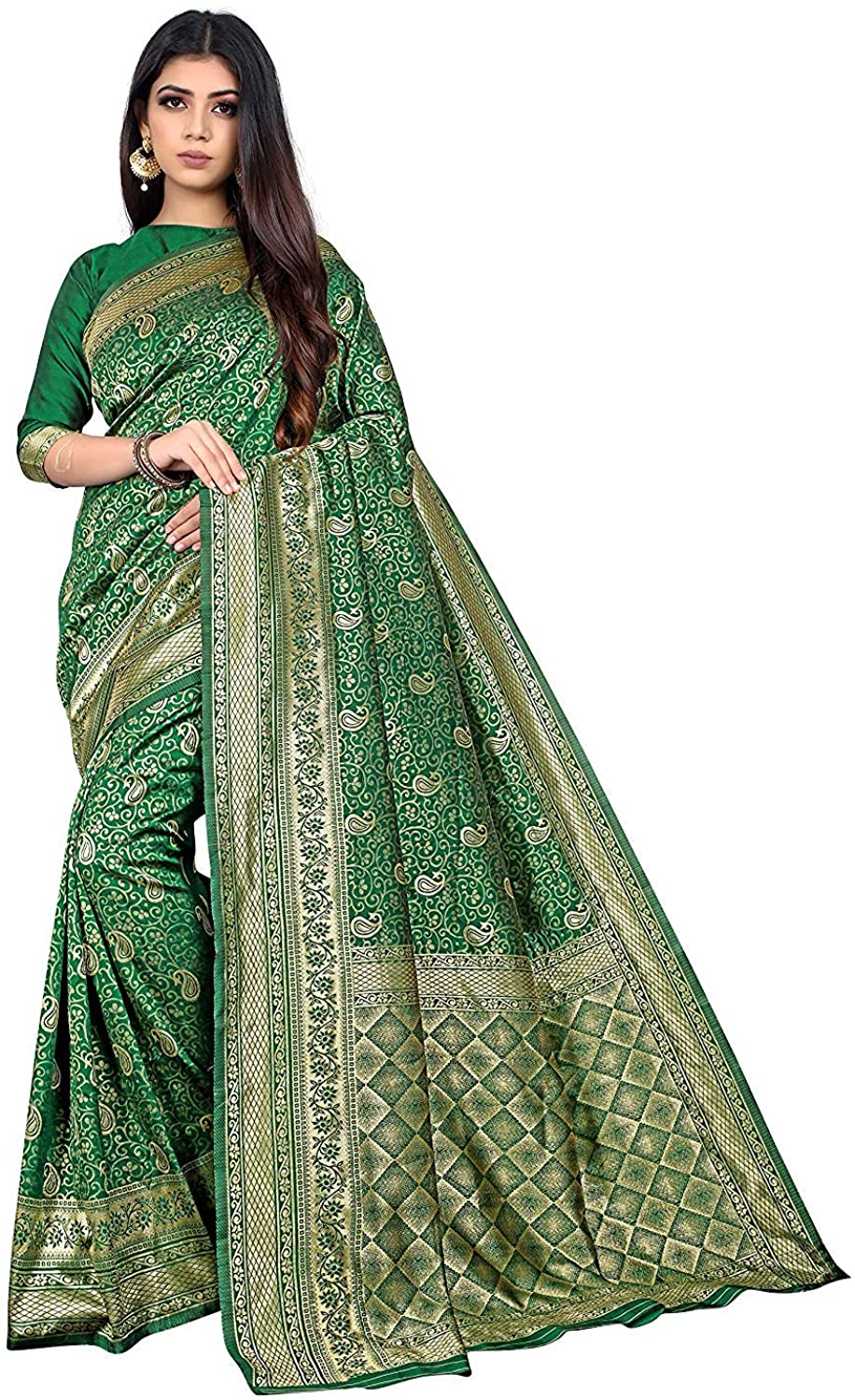 BHARVITA Women's Banarasi Silk Patola Style Saree with Blouse Piece Dark Green