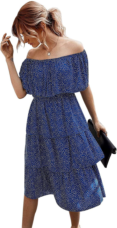Wellwits Women's Polka Dots Off Shoulder Layer Tea Length Vintage Dress