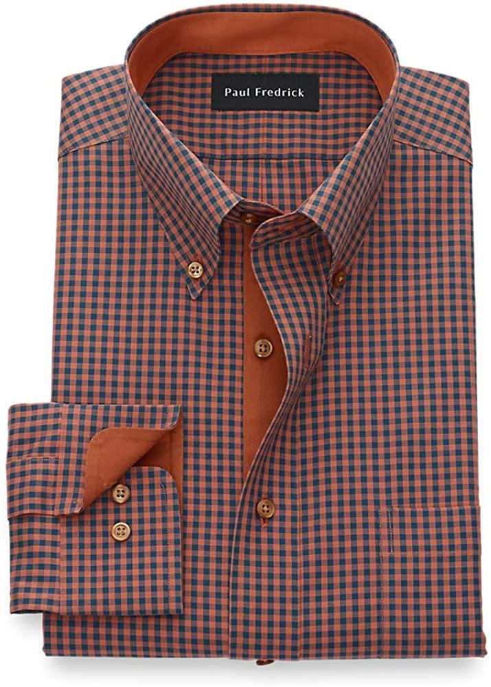 Paul Fredrick Men's Non-Iron Two Ply Cotton Gingham, Button Down Collar, Button