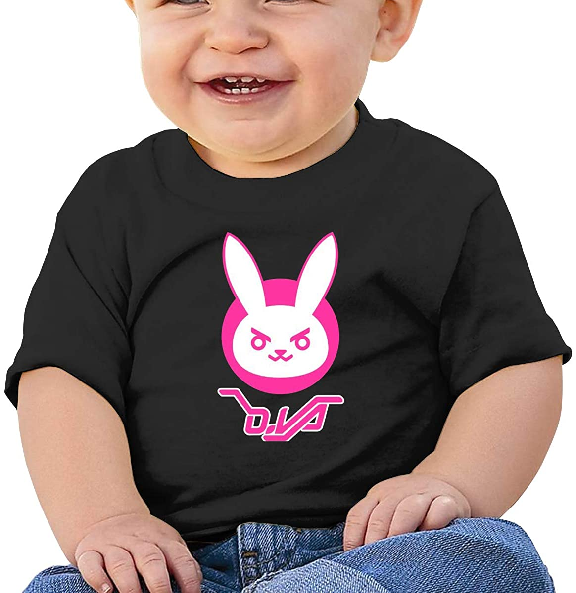 6-24 Months Boy and Girl Baby Short Sleeve T-Shirt Overwatch Dva Bunny Logo Original Minimalist Style Black