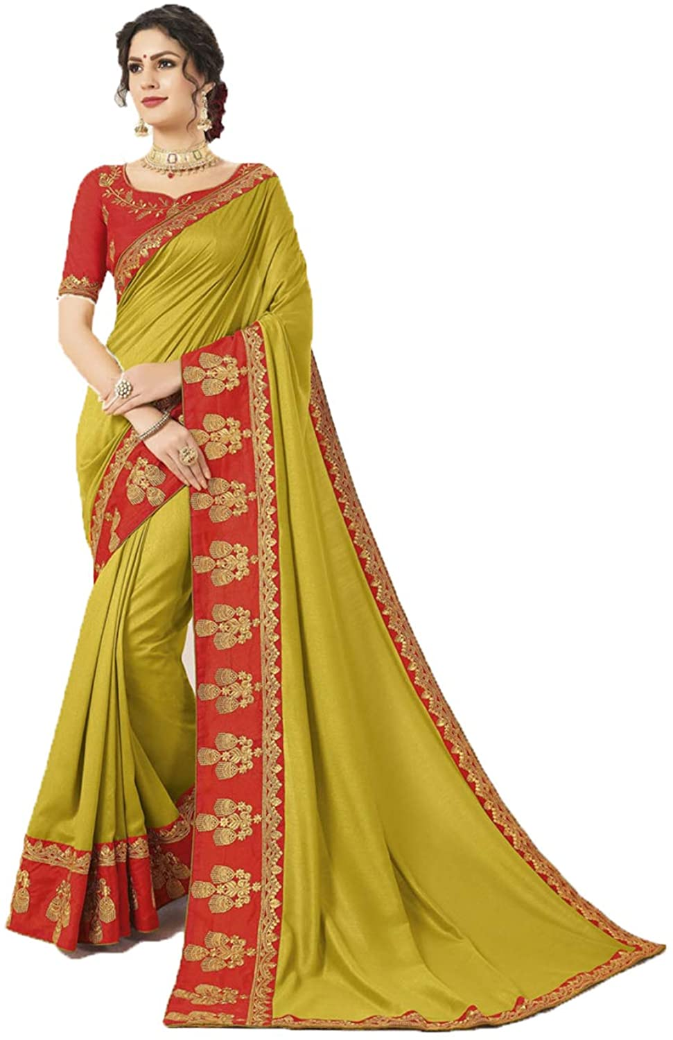 Saree for Women Bollywood Wedding Designer Mehendi Sari with Unstitched Blouse. ICW2556-8