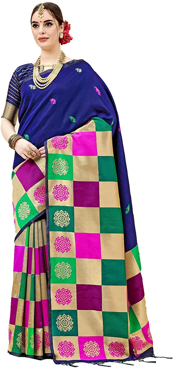 Indian Saree for Women Ethnic Sari Blue Kanjeevaram Art Silk Sari with Unstitched Blouse. ICW2780-9