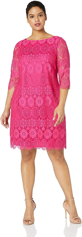 Jessica Howard Plus Size Womens 3/4 Sleeve Shift Dress