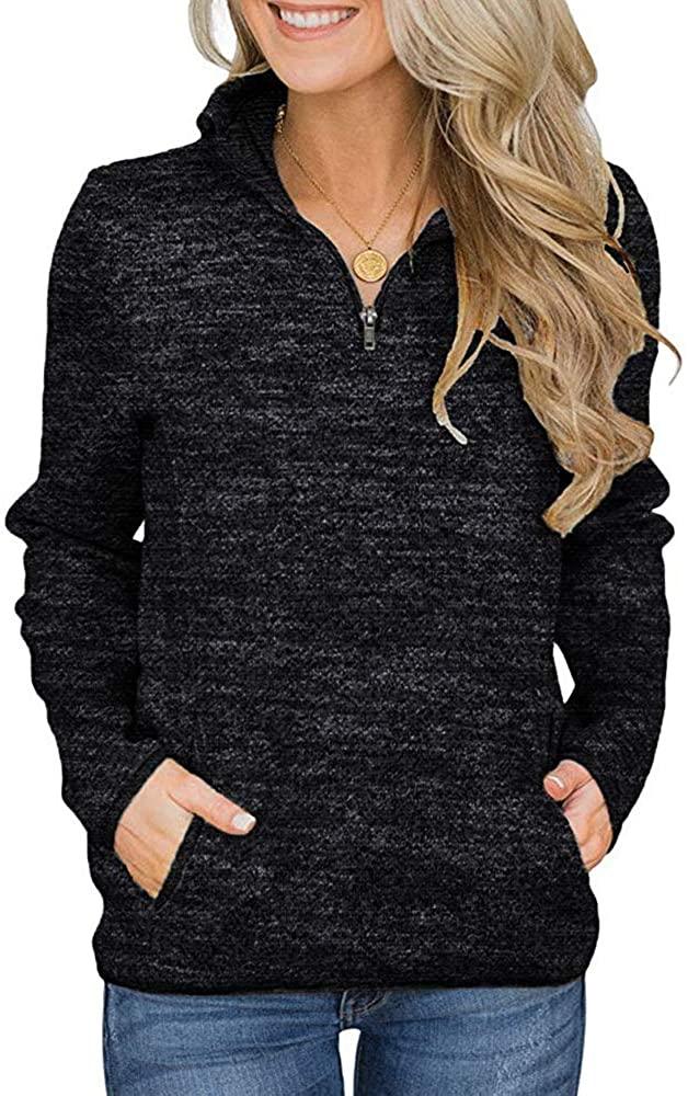 kayamiya Women's Sweatshirts Zip Up Pullover Long Sleeve Tunic Shirt Tops with Pocket