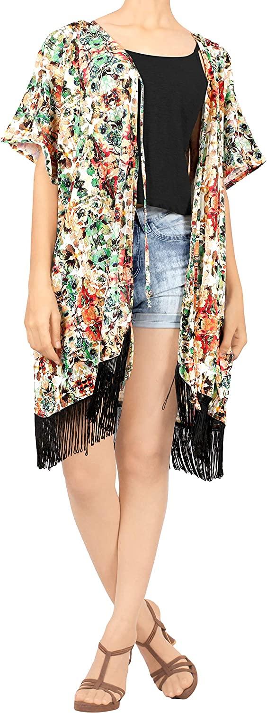LA LEELA Womens Open Front Kimono Cardigan Coverup Coat Outwear Top Solid Plain