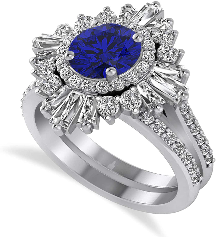 (2.74 ctw) Platinum Blue Sapphire and Diamond Ballerina Engagement Ring