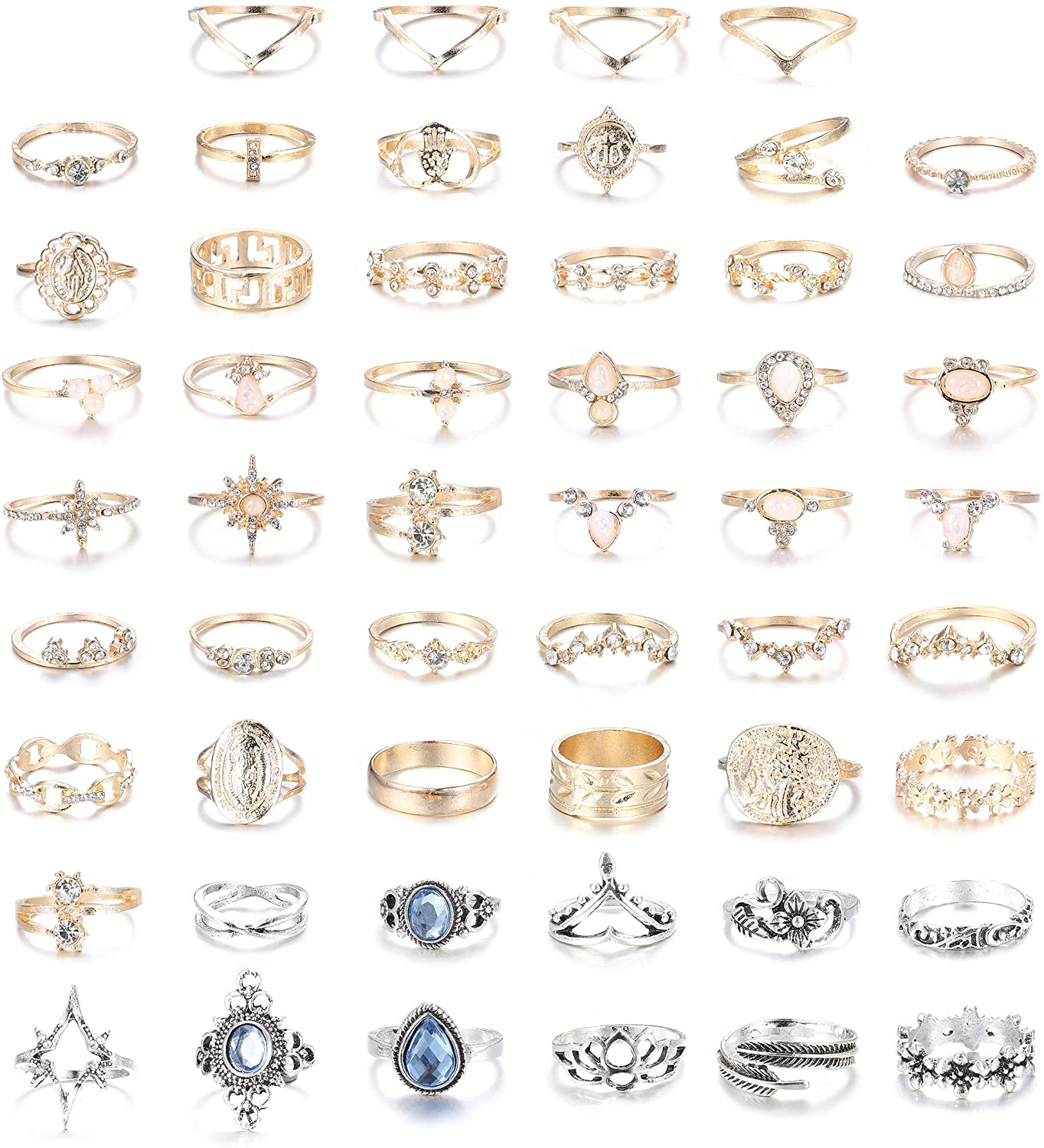 YADOCA 52 Pcs Vintage Knuckle Rings for Women Midi Ring Set Stackable Bohemian Retro Joint Finger Rings Hollow Carved Flowers