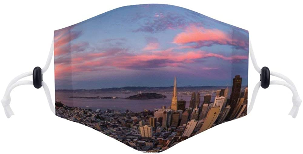 Face Protection (with Two Filters) San Francisco Sunset Drone Purple California Face Protection Unisex Adjustable Breathable Dustproof Mouth Cover