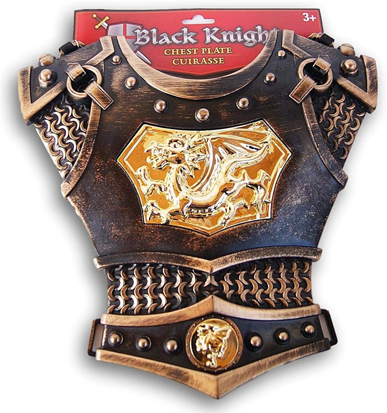 Black Knight Gold Dragon Cuirasse Chest Plate Armor for Children's Costume