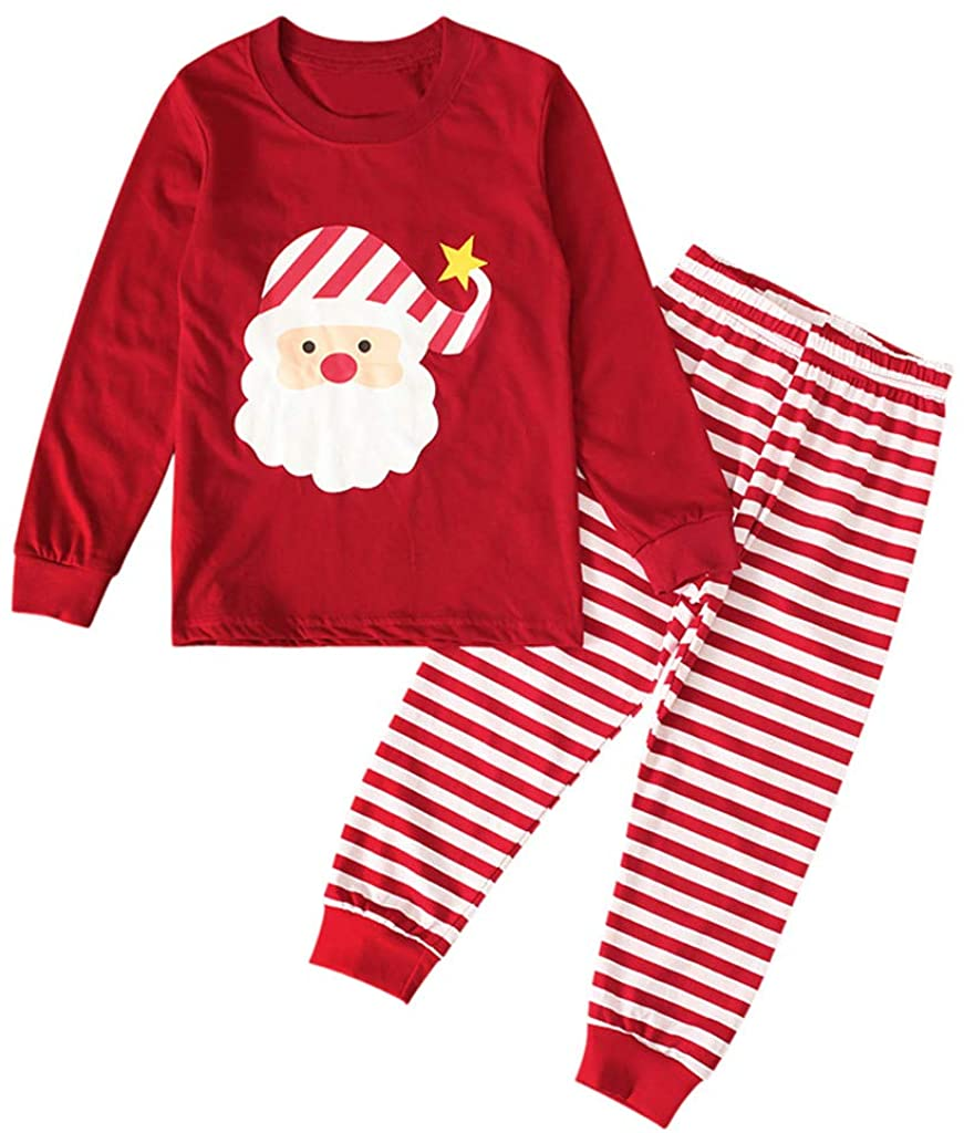 Yezijin Girls Christmas Santa Clothing Set Baby Boys Infant Tops Striped Pants Outfits