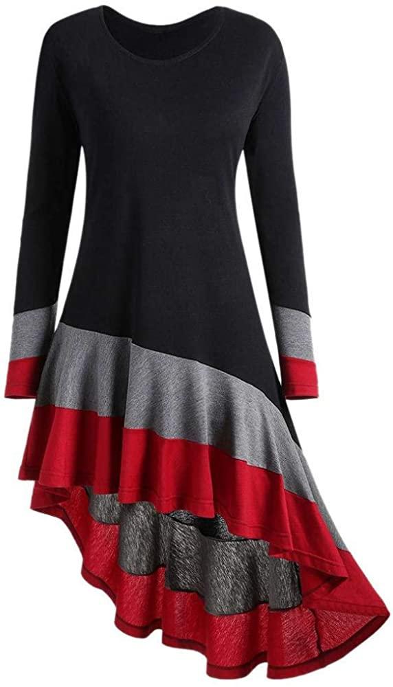 STORTO Women Stitching Color Long Sleeve Handkerchief Hem Striped Tunic Loose T Shirt Dress