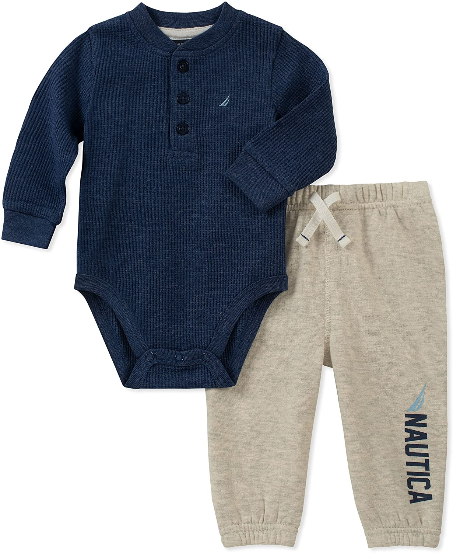 Nautica Kids & Baby 2 Pieces Creeper Pants Set, Multi, 3-6 Months