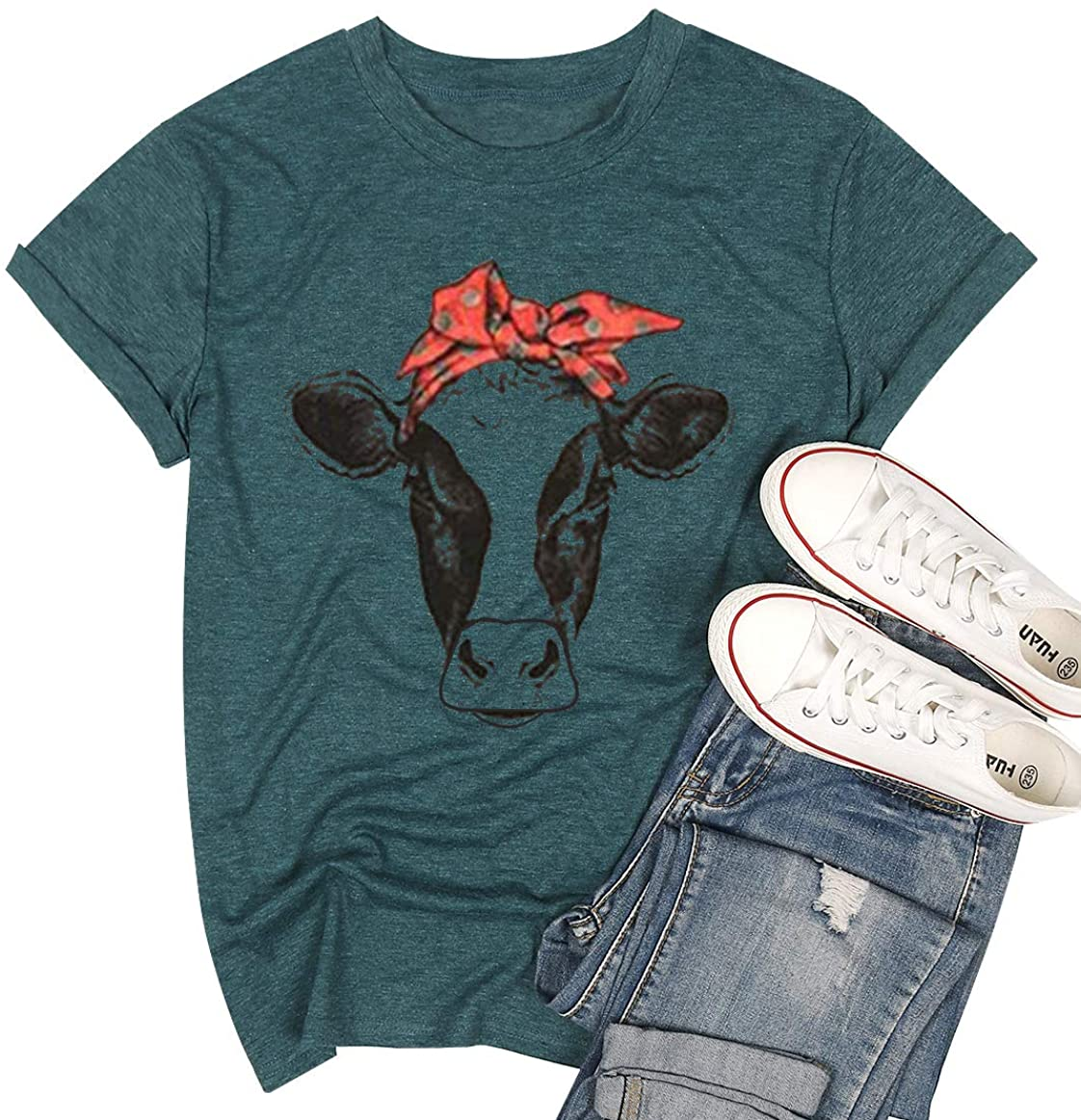 Cow Shirt Women Funny Cute Printed Graphic Tee Summer Loose Casual Short Sleeve Tops…