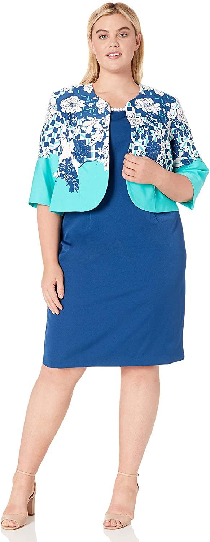 Maya Brooke Womens Plus Size Floral Contrasted Jacket Dress