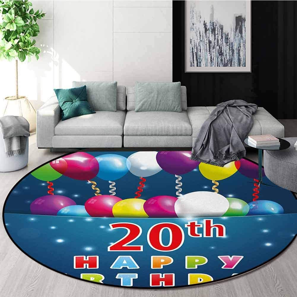 20Th Birthday Machine Washable Round Bath Mat,Sweet 20 Birthday Party With Colorful Balloons On The Blue Backdrop Print Non-Slip No-Shedding Bedroom Soft Floor Mat Round-47 Inch,Multicolor