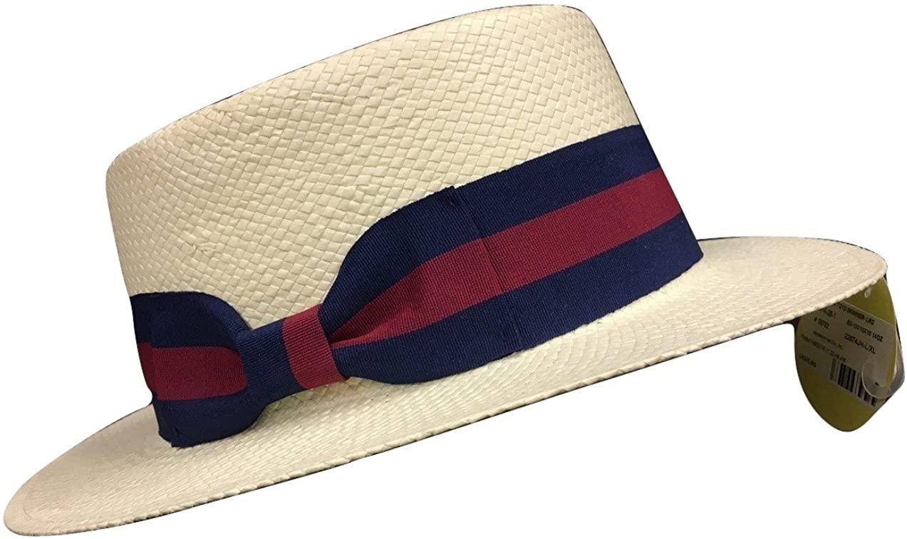 Straw Sailor Boater Skimmer Campaign Hat, Multi, Small/Medium White