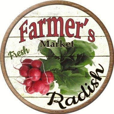 Bargain World Farmers Market Radish Novelty Metal Circular Sign (with Sticky Notes)