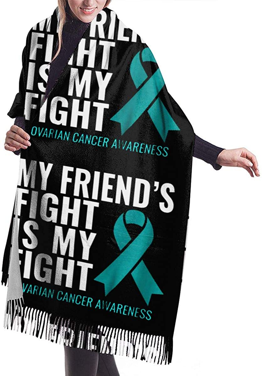My Friend's Fight Is My Fight Ovarian Cancer Winter Scarf Cashmere Scarves Stylish Shawl Wraps Blanket