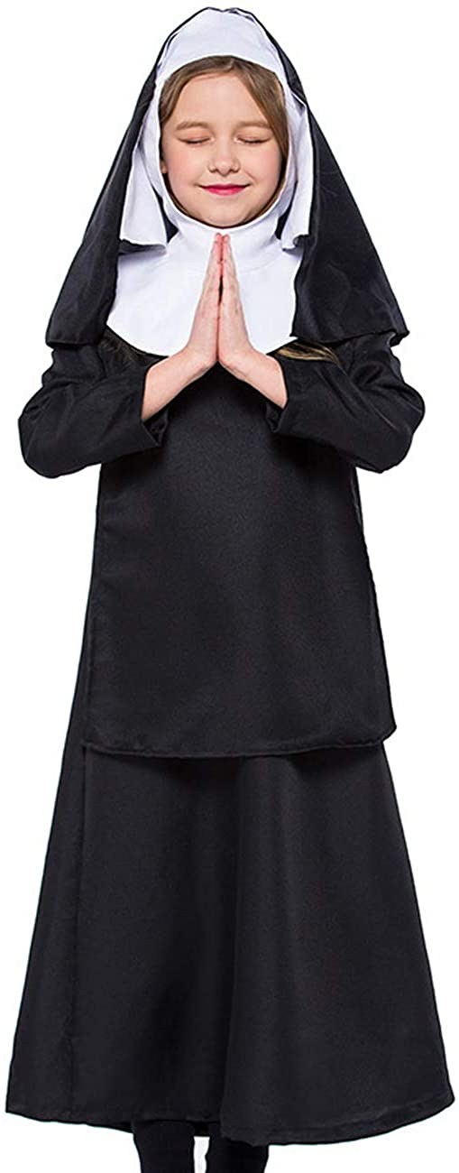 COSLAND Kids Girls Nun Costume Dress