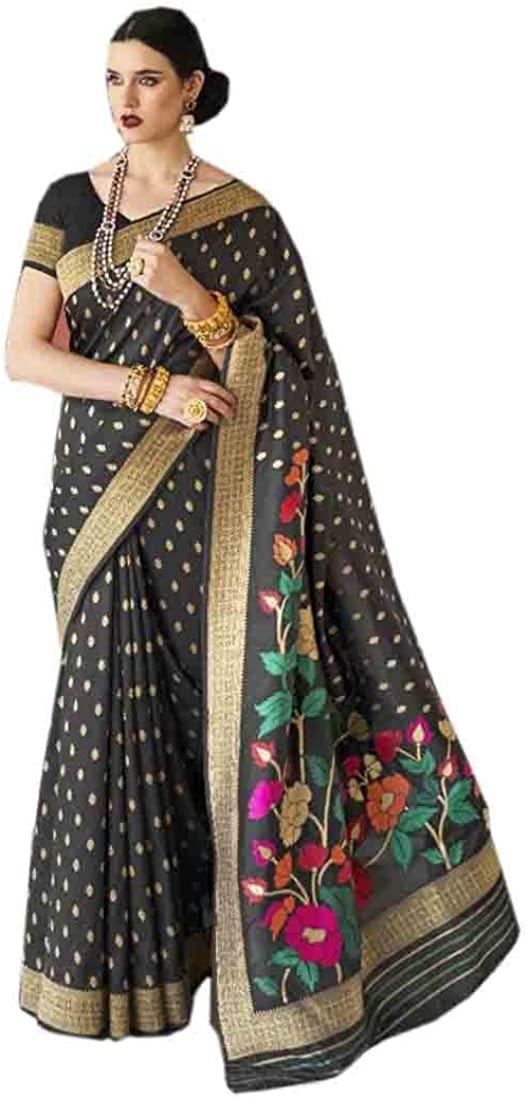 Black Festival Eid Uljha Party Soft Woven Silk Indian Saree Sari Blouse Muslim Dress 9897B