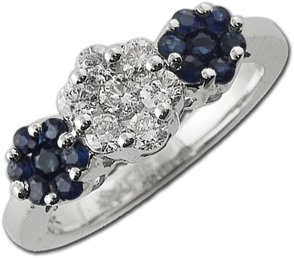 TriJewels Blue Sapphire and Diamond Floral Engagement Ring with Side Gallery 1.00 ct tw in 14K White Gold
