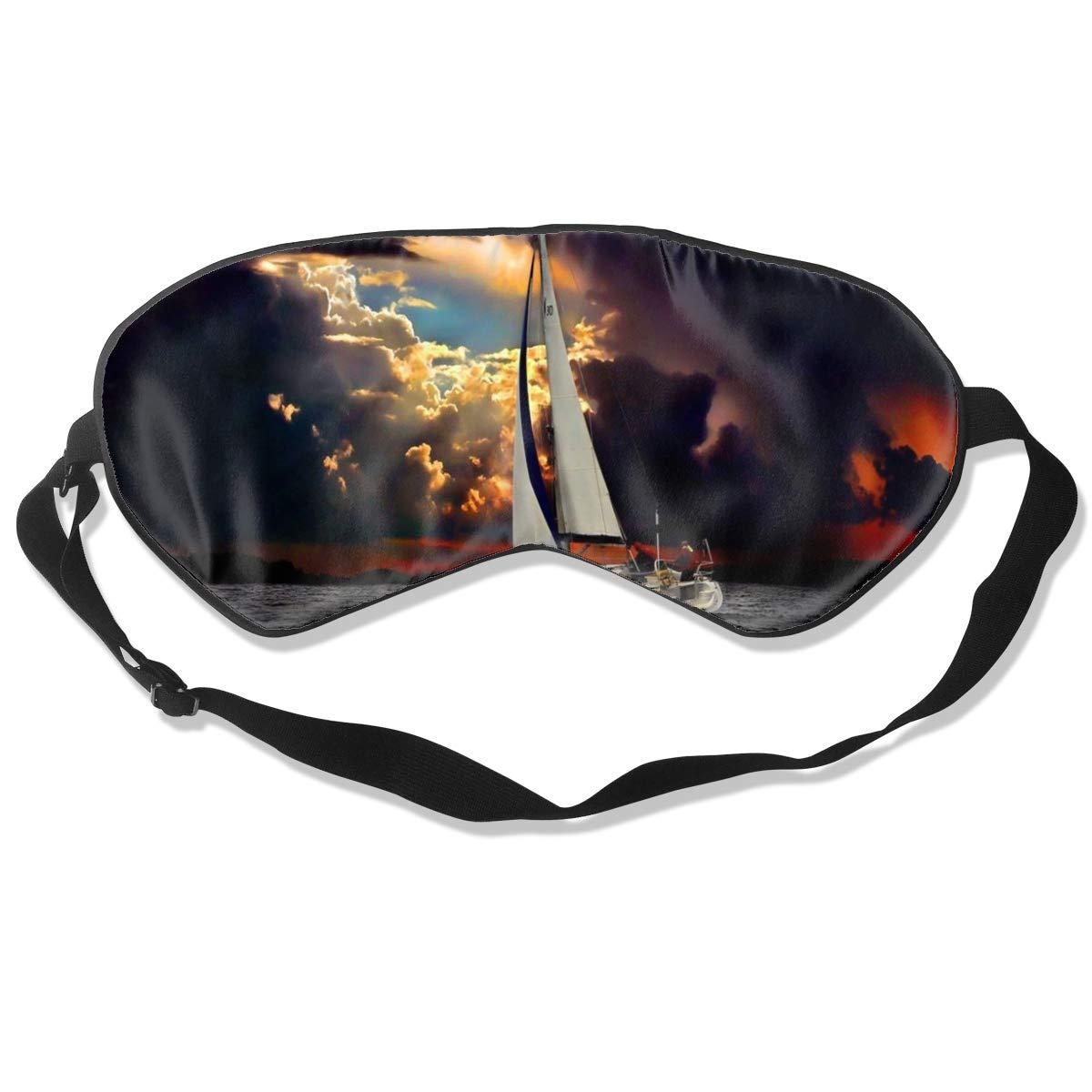 100% Silk Sleep Eye Mask, Sailboat Black Cloud Night Sleep Mask, Meditation With Adjustable Straps, Blocks Light, Suitable For Sleeping Travel Work Naps