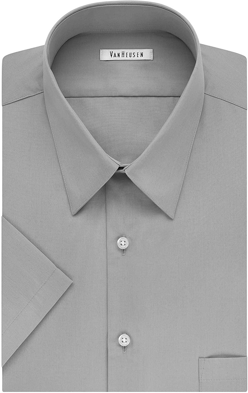 Van Heusen Men's TALL FIT Short Sleeve Dress Shirts Poplin Solid (Big and Tall)