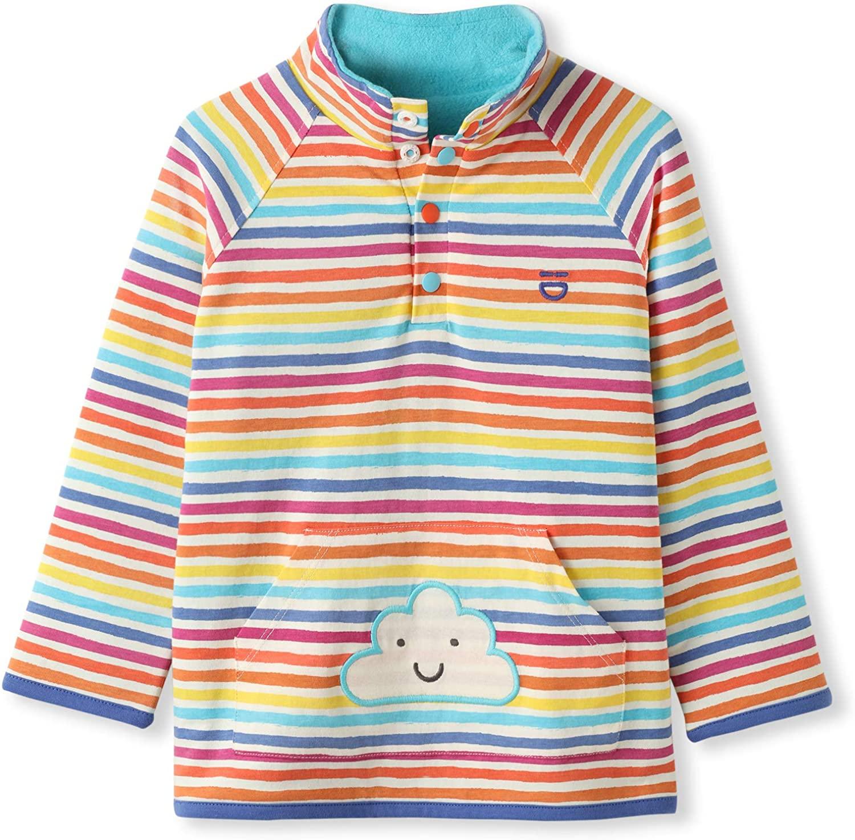 Organic Cotton Baby Infant Toddler Reversible Fleece Jumper - Rainbow Stripes - Boy Girl (0-4 Years)