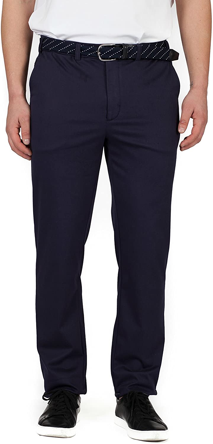 Buki Men's Stretch Modern-Fit Flat Front Dress Pant with Stretch Waist - Designed in Seattle.