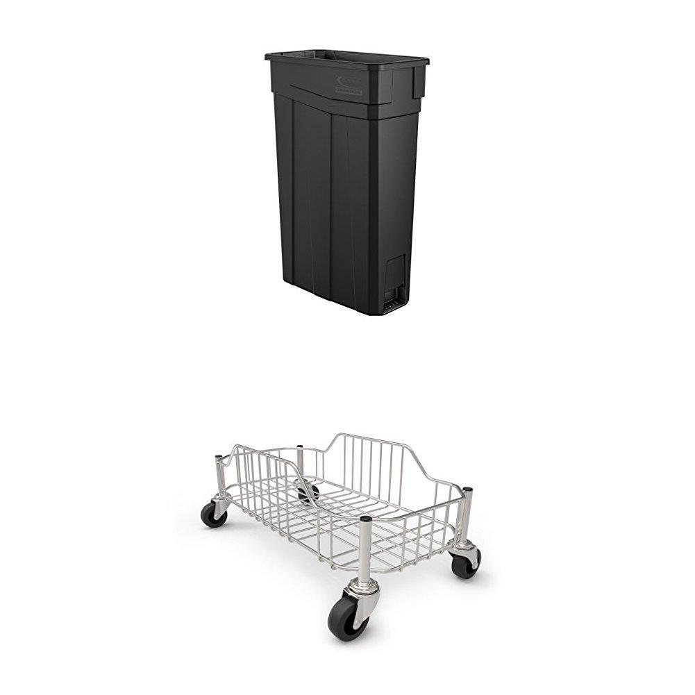 Suncast Commercial TCN2030BK Narrow Trash Can, 30.00 Height, 11.08 Width, 23 gal Capacity, Plastic, Black Bundle