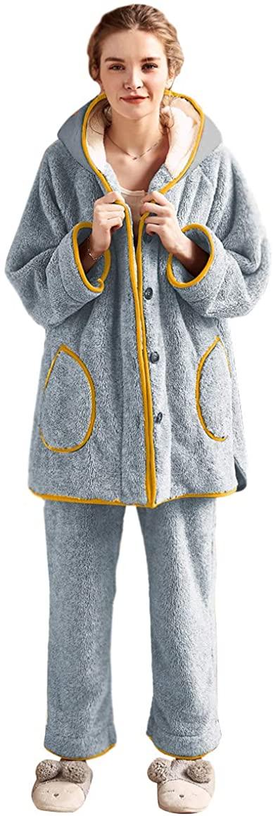 Newdeve 2 Pieces Pajamas Sets Blue Hooded Flannel Nightgowns Women Plus Size Warm Winter Sleepwear Home Wear