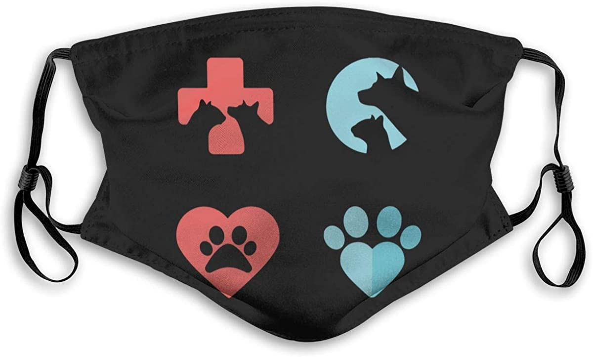 Logo Veterinarian Veterinary medicine Dog mask Face Protection Decorations with 2 Filter Chip