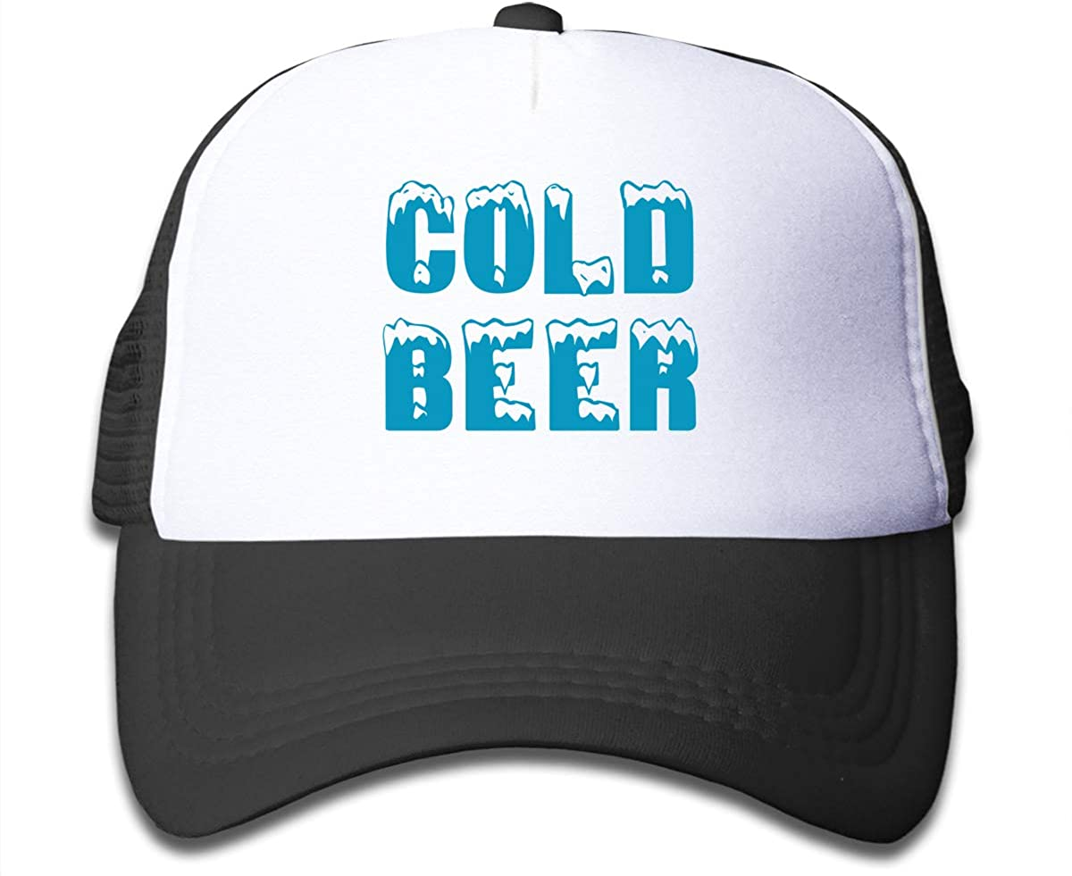 Cold Beer Childrens Adjustable Mesh Hats Trucker Cap for Boys and Girls