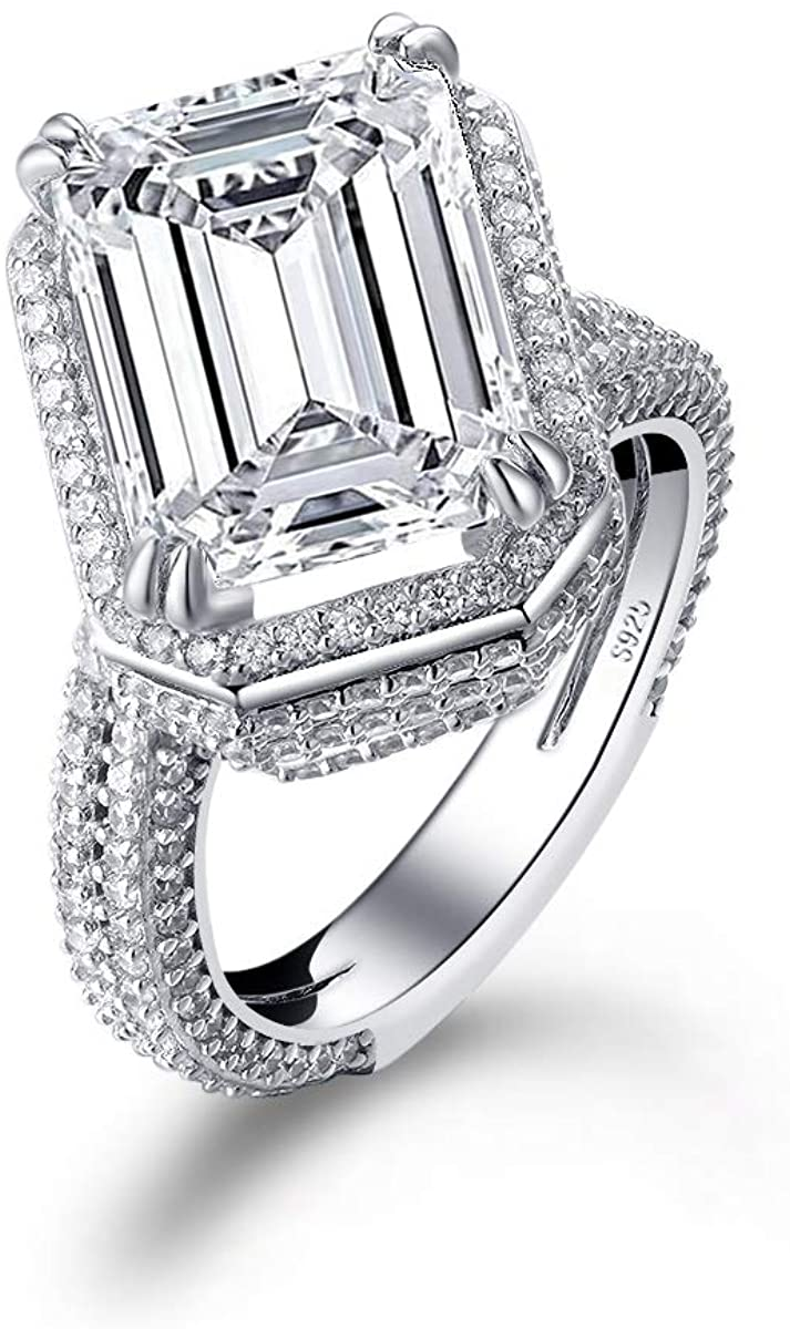 Emerald Cut White Sapphire Engagement Ring Multi-Halo 925 Sterling Silver Cubic Zirconia Multi-Stone Royal Solitaire Wedding Ring for Women Size 5-10