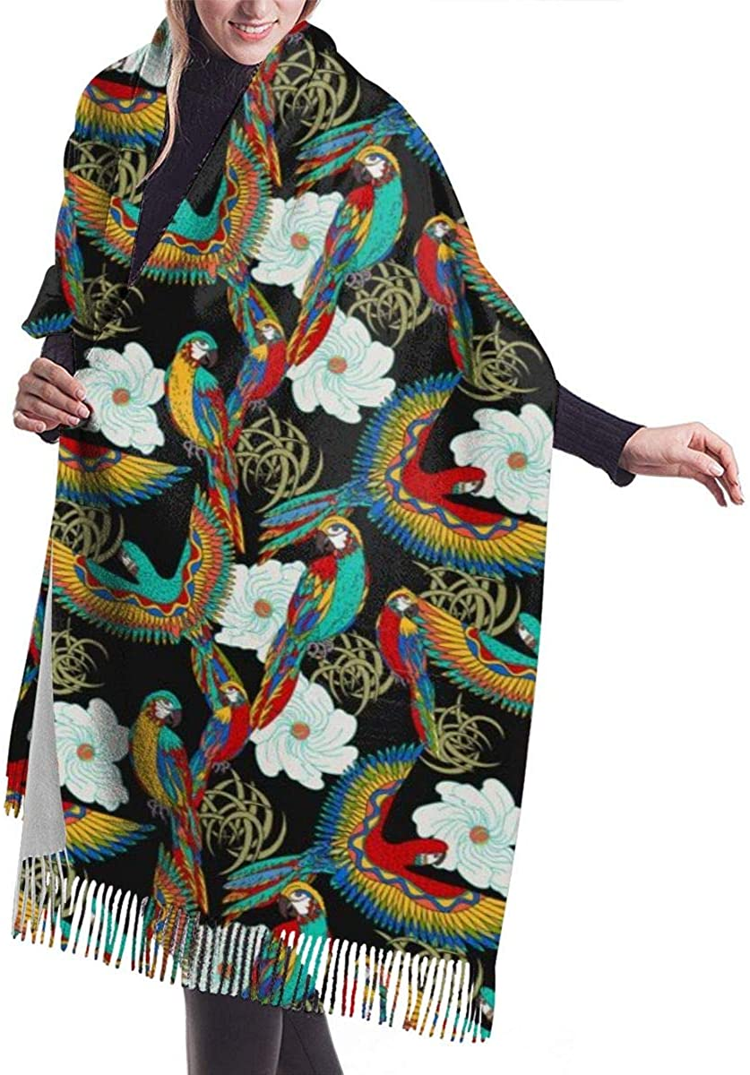 Parrots And Exotic Beach Holiday Women's Winter Warm Scarf Fashion Long Large Soft Cashmere Shawl Wrap Scarves