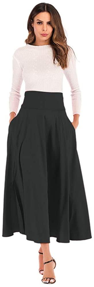Ciminy JSPOYOU Women Skirt High Waist Pleated A Line Long Skirt Front Slit Belted Maxi Skirt
