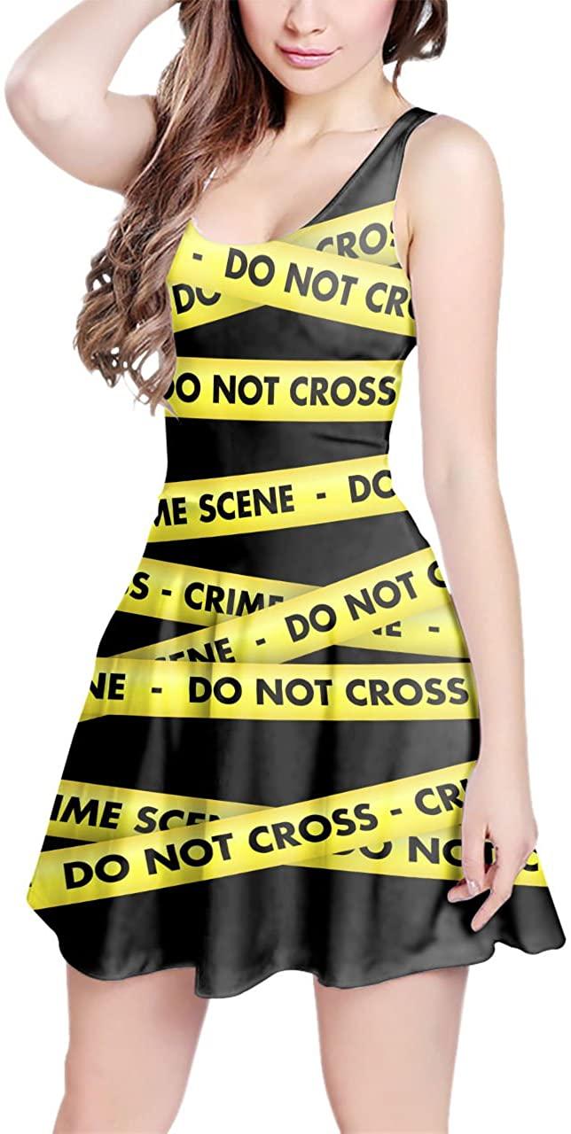Crime Scene Tape Sleeveless Flared Skater Dress