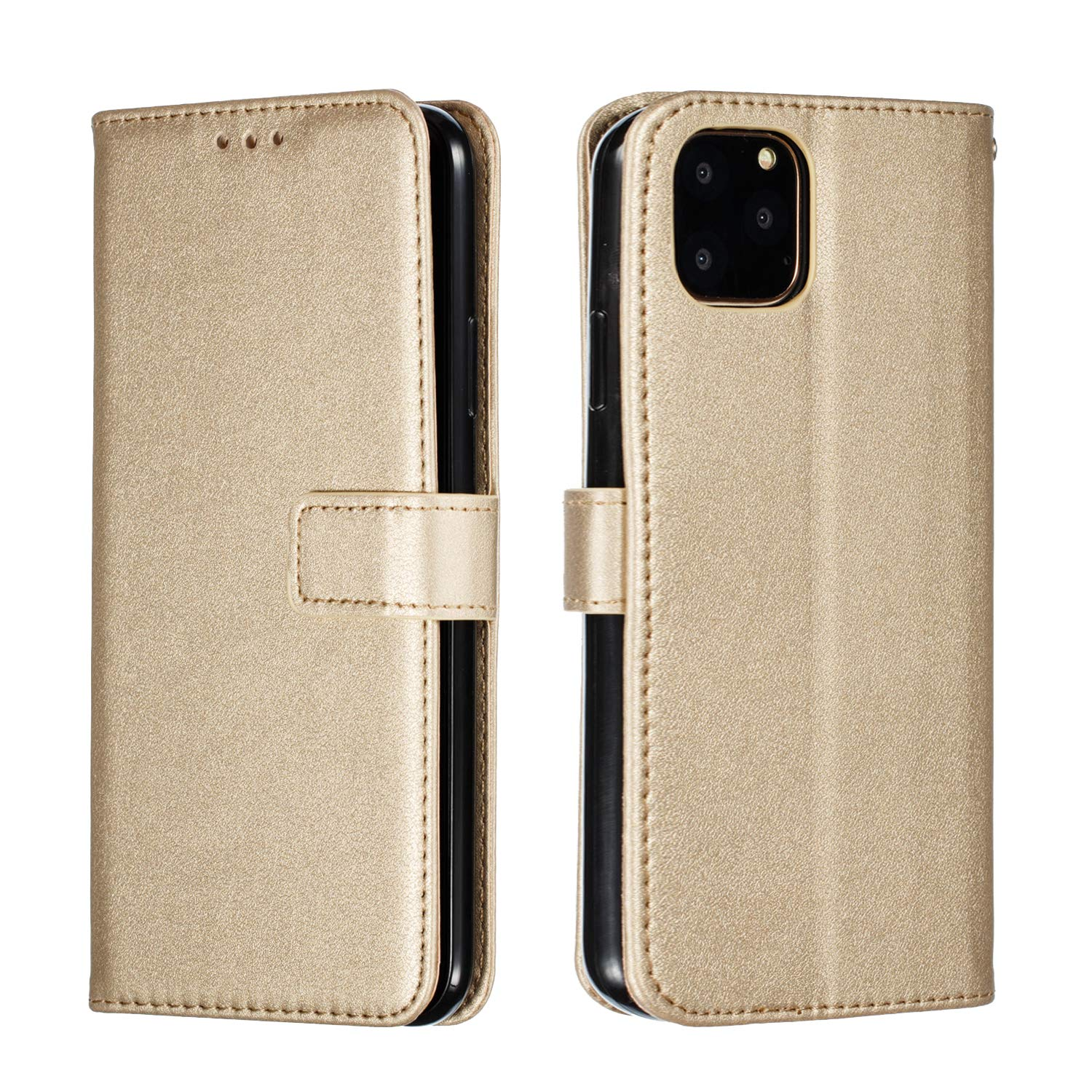 BeyeX Samsung Galaxy A10s Flip Case Leather Cover Extra-Durable Business Card Holders Kickstand Mobile Phone Cover Simple 3 Card Slot Money interlayer Sling (Gold)