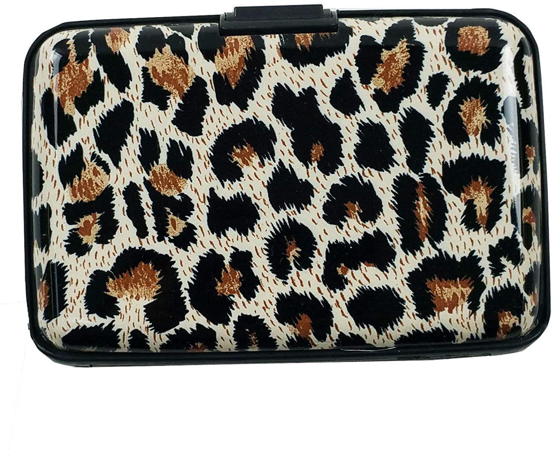 Leopard Designed Business ID Credit Card Wallet Holder Aluminum Covered Pocket Case