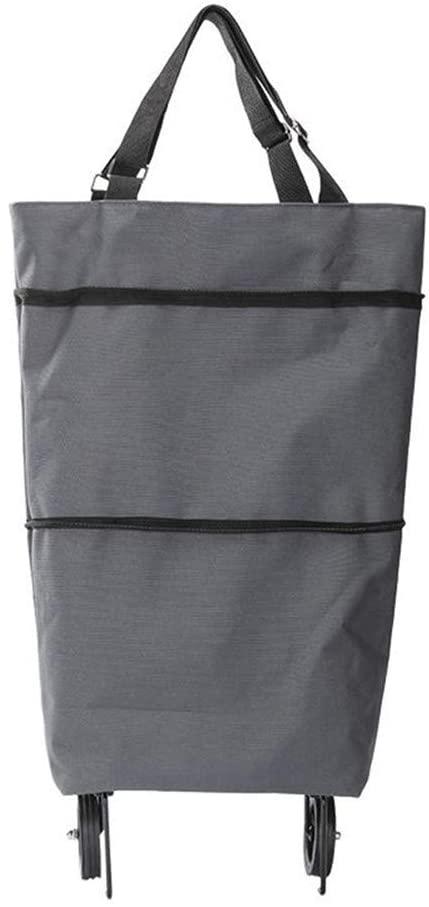 BeAUZQ Foldable Scalable Cart Portable Shopping Trolley Bag Handbag Luggage Storage Bag with Wheel Utility Carts,Gray