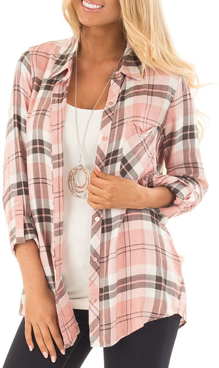 NUOREEL Womens Casual Plaid Soft Button Down Tops Roll Up Long Sleeve Cuffed Blouse Shirts