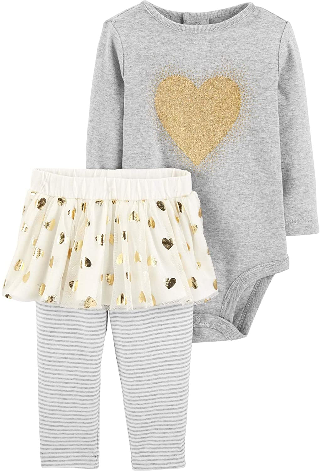 Carter's Baby Girls' 2-Piece Bodysuit and Tutu Pant Set (Heather/Gold Hearts, 9 Months)